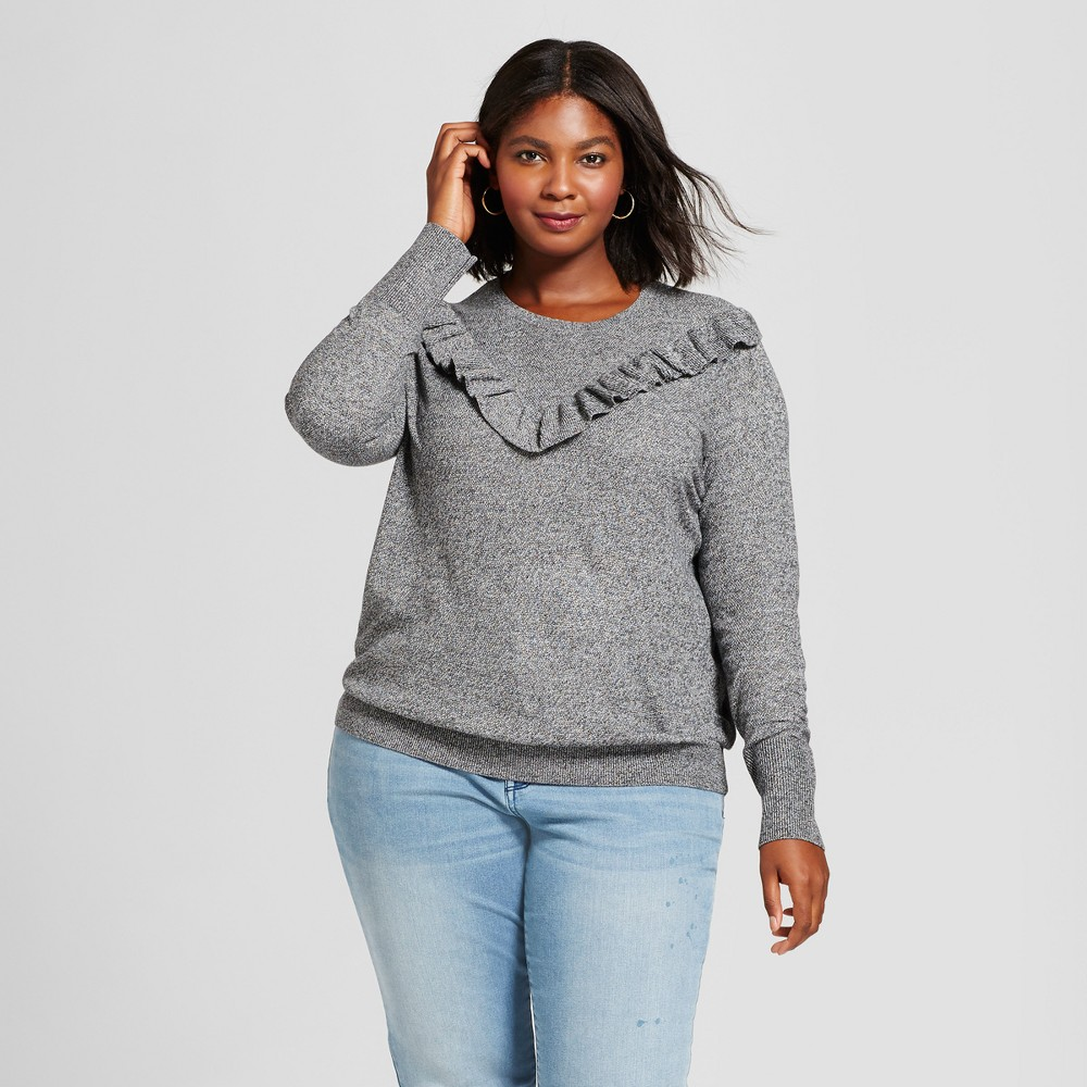 Womens Plus Size Ruffle Pullover - A New Day Gray X