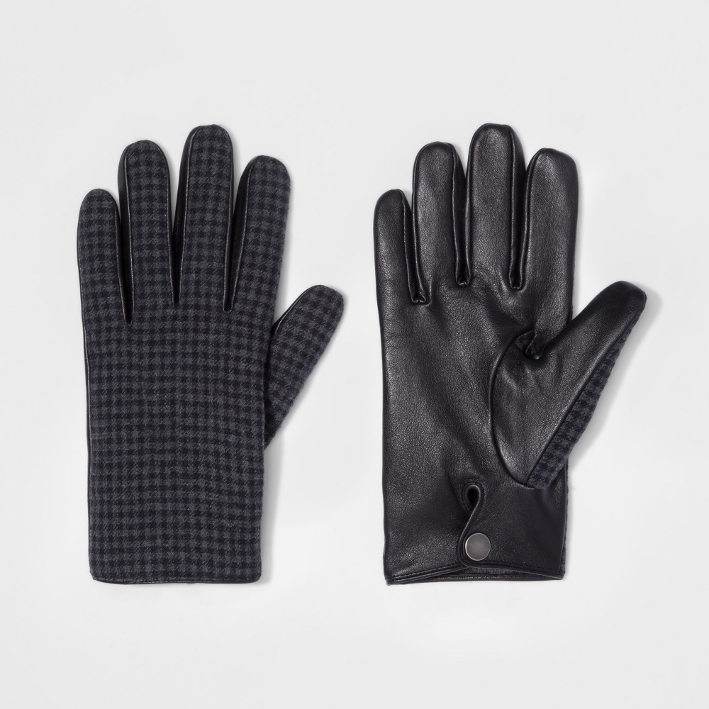 Men's Houndstooth Wear Gloves - Goodfellow & Co Gray/Black M