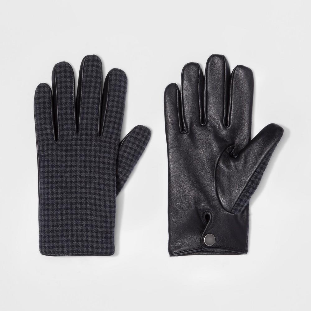 Men's Houndstooth Wear Gloves - Goodfellow & Co Gray/Black XL