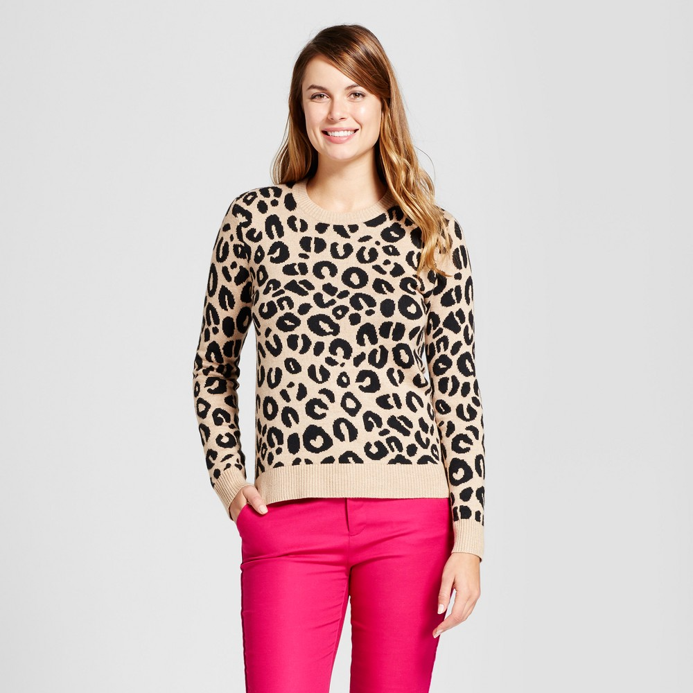 Womens Allover Animal Any Day Pullover - A New Day Camel M