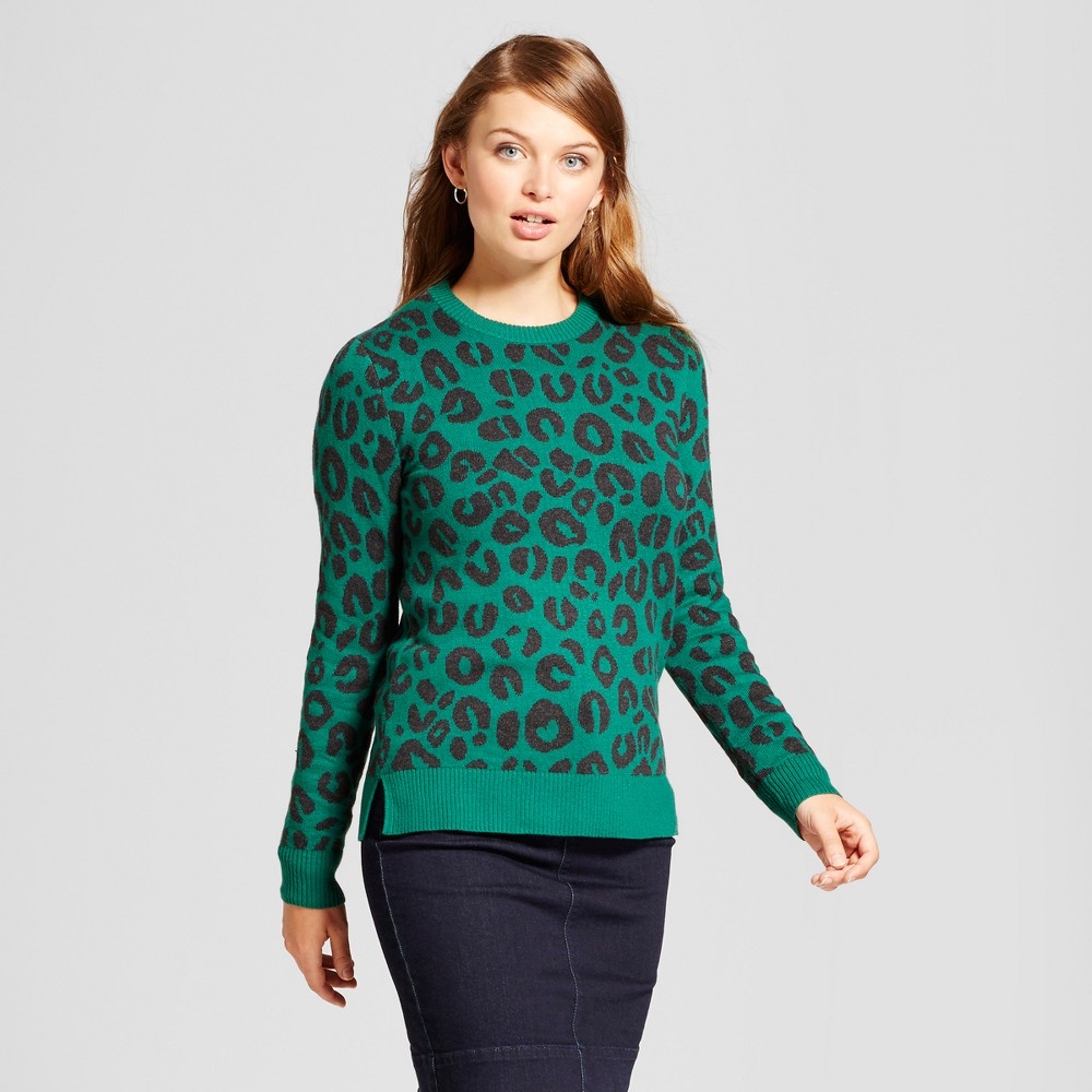 Womens Allover Animal Any Day Pullover - A New Day Green L