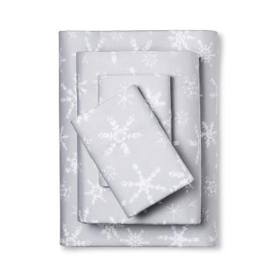 Wondershop Flannel Sheet Set Full Gray Snowflake