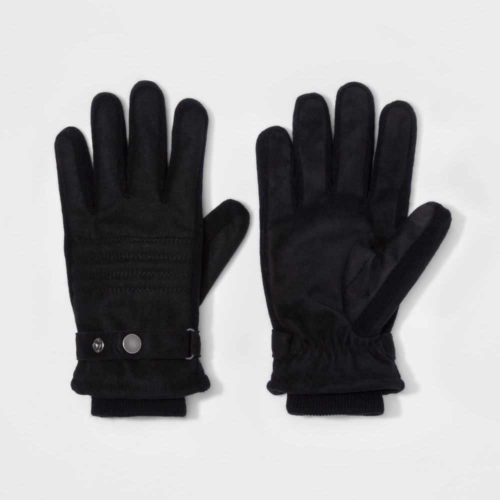 Mens Quilted Woven Thinsulate Lined Wool/Polyester Gloves With Stripes - Goodfellow & Co Black XL