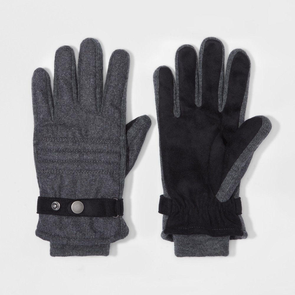 Mens Quilted Woven Thinsulate Lined Wool/Polyester Gloves With Stripe - Goodfellow & Co Gray XL