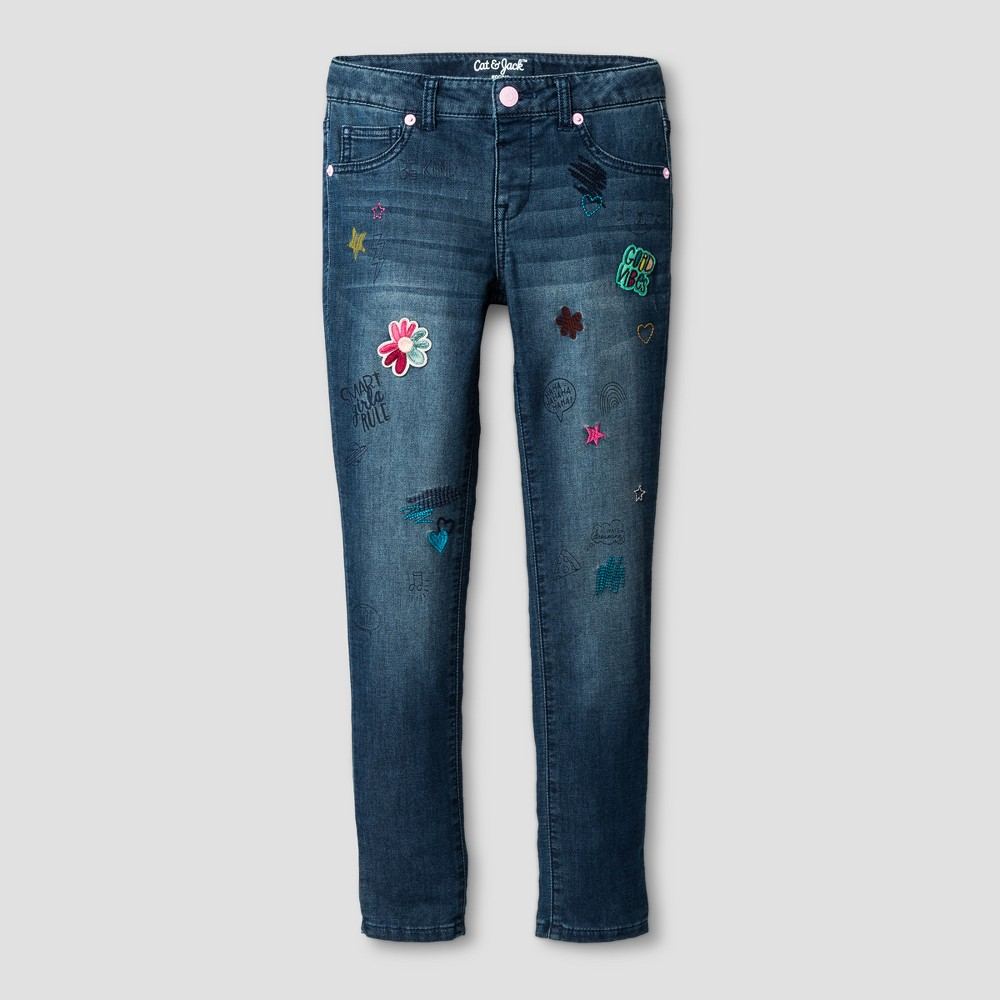 Girls' Knit Jeans with Embroidered Patches - Cat & Jack Medium Blue 5 Slim