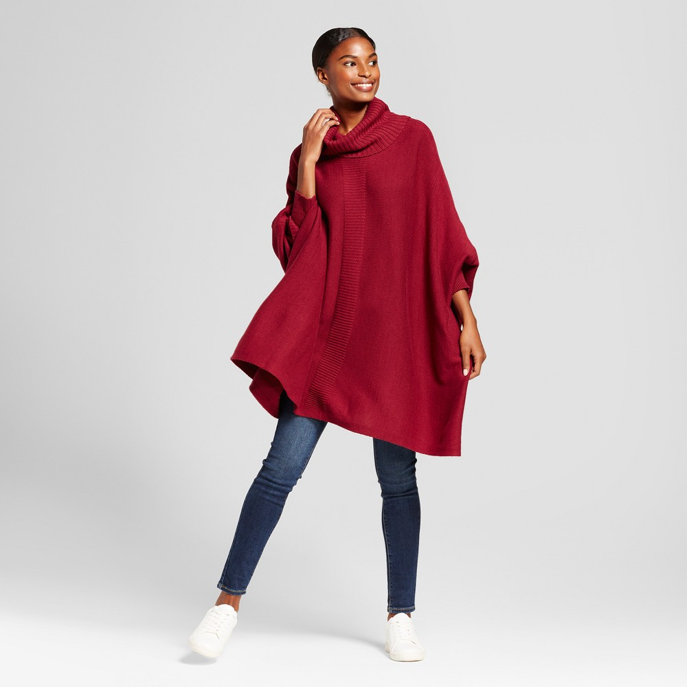 Womens Cowlneck Poncho - A New Day Maroon (Red) Xxl