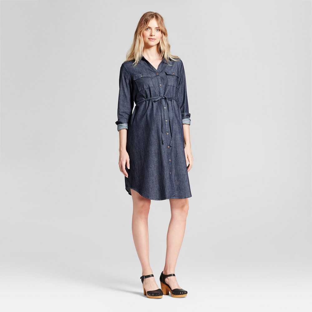 Maternity Denim Shirt Dress - Isabel Maternity by Ingrid & Isabel Indigo Xxl, Infant Girls, Blue