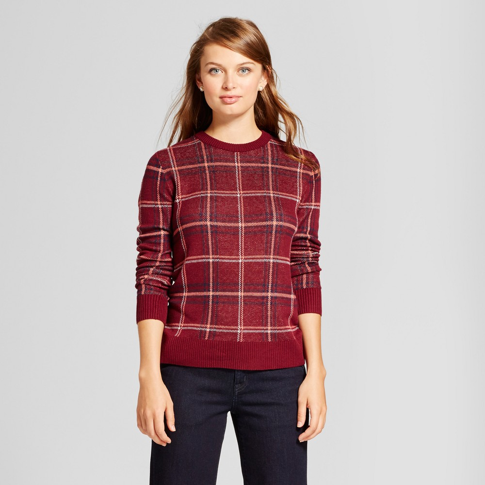 Womens Plaid Any Day Pullover - A New Day Burgundy (Red) L