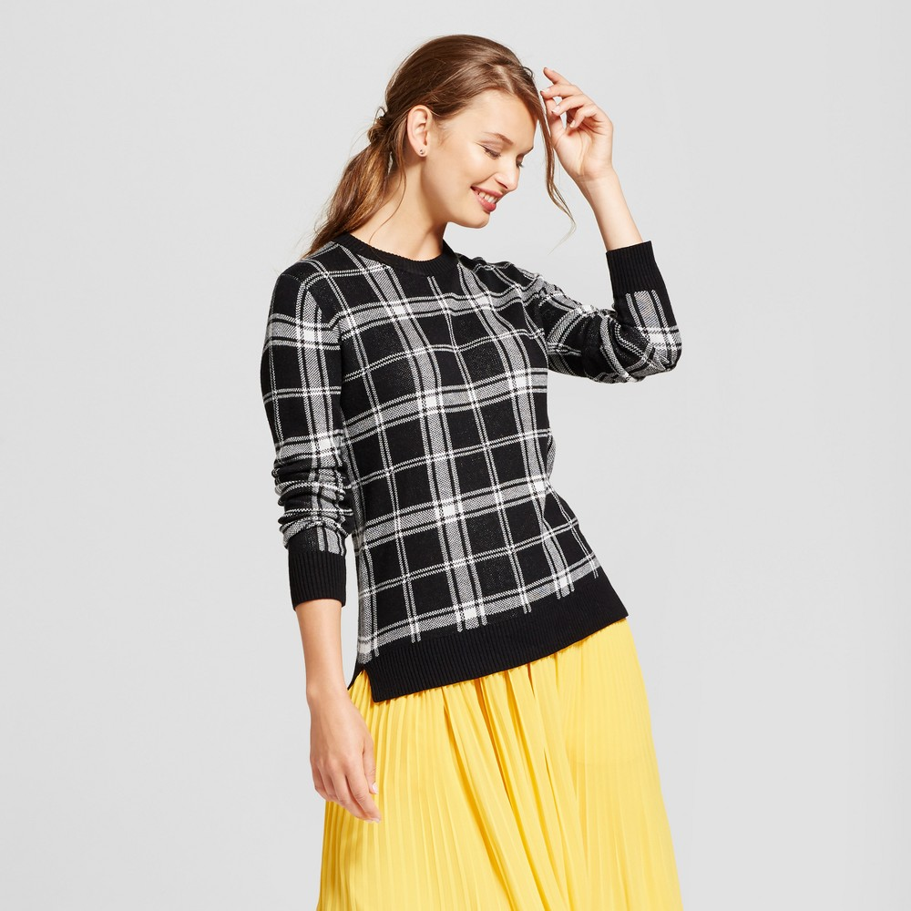 Womens Plaid Any Day Pullover - A New Day Black M