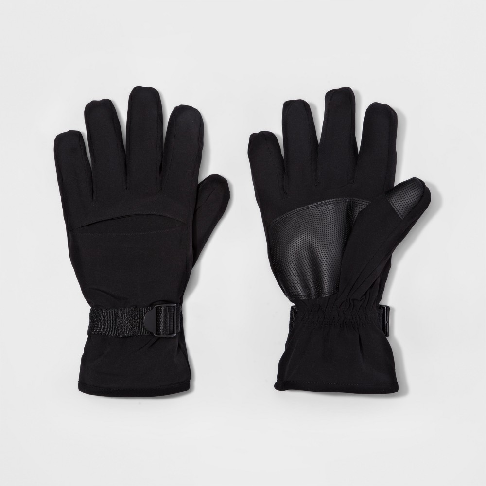 Mens Cuff Closure Knit Gusset Wind Proof Ski Gloves - Goodfellow & Co Black XL