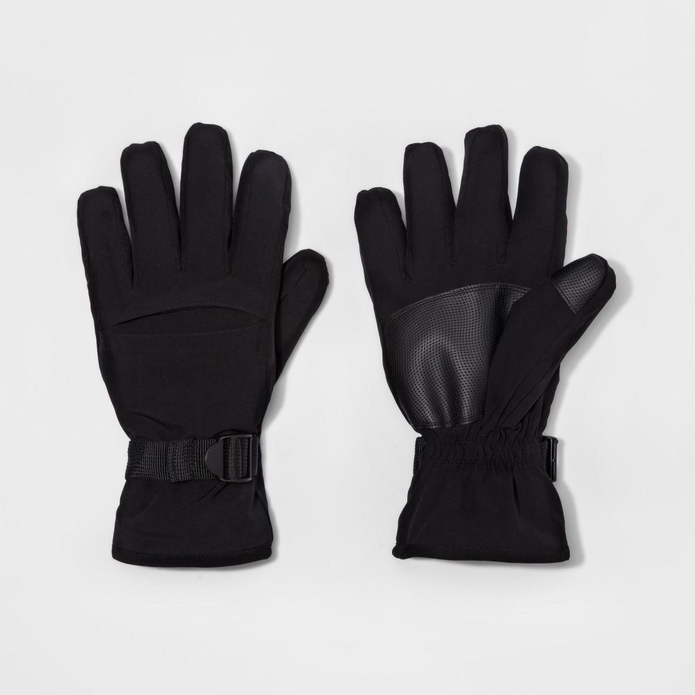 Mens Cuff Closure Knit Gusset Wind Proof Ski Gloves - Goodfellow & Co Black L