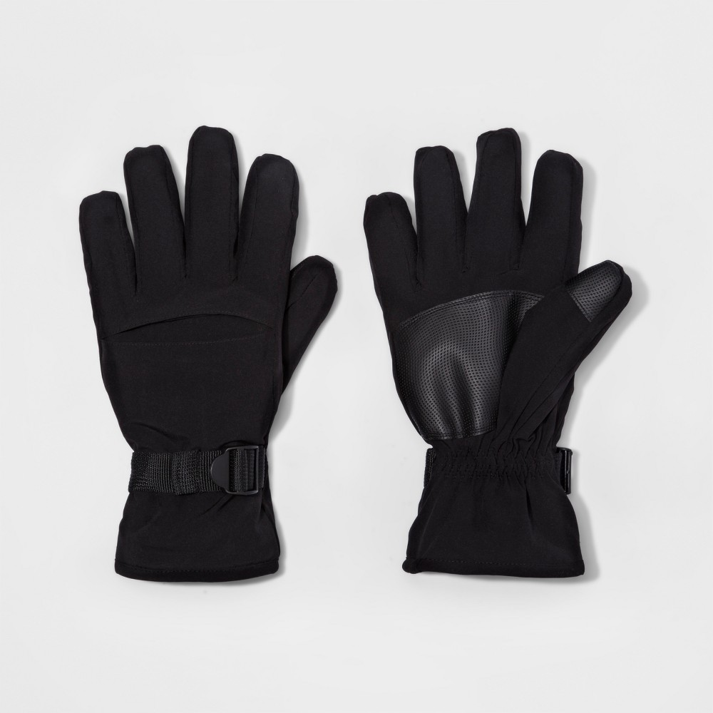 Mens Cuff Closure Knit Gusset Wind Proof Ski Gloves - Goodfellow & Co Black M