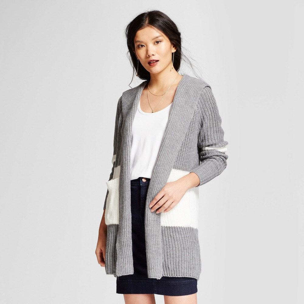 Womens Hooded Car Coat - A New Day Gray/Cream S