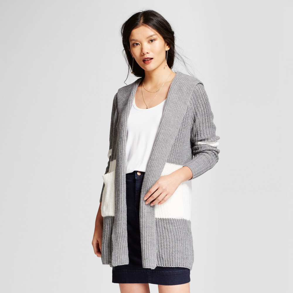 Womens Hooded Car Coat - A New Day Gray/Cream L