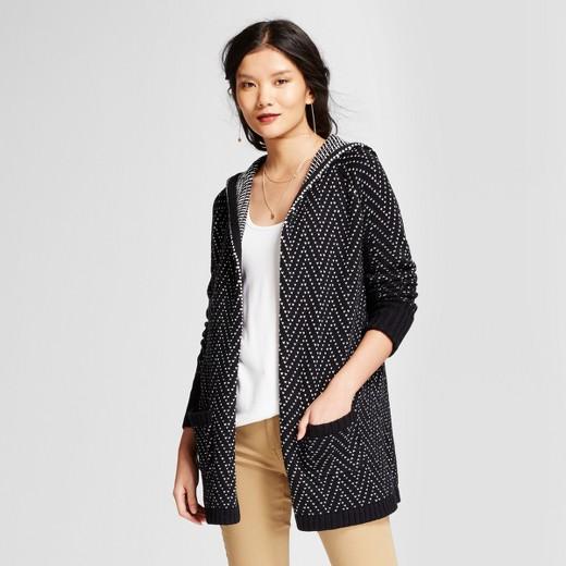 Women's Hooded Car Coat - A New Day™ Black/White : Target