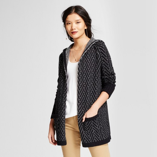 Women's Hooded Car Coat - A New Day™ Black/White : Target