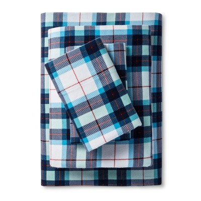 Wondershop Flannel Sheet Set King Blue Plaid