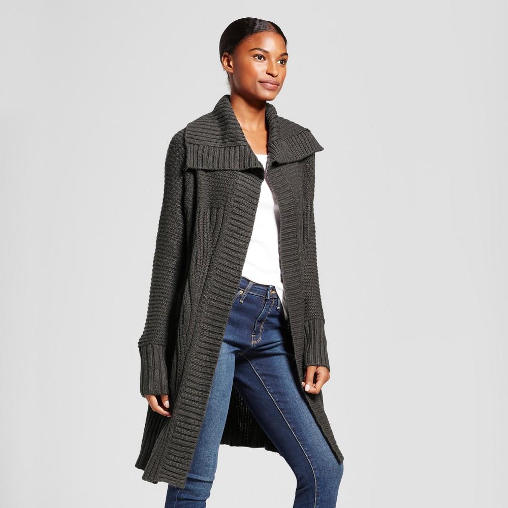Womens Shawl Collar Car Coat - A New Day Dark Gray Xxl