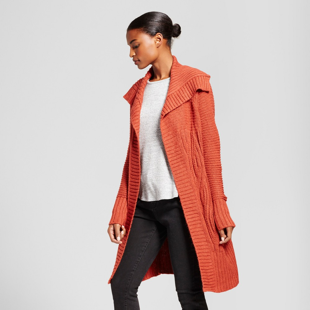 Womens Shawl Collar Car Coat - A New Day Rust (Red) Xxl