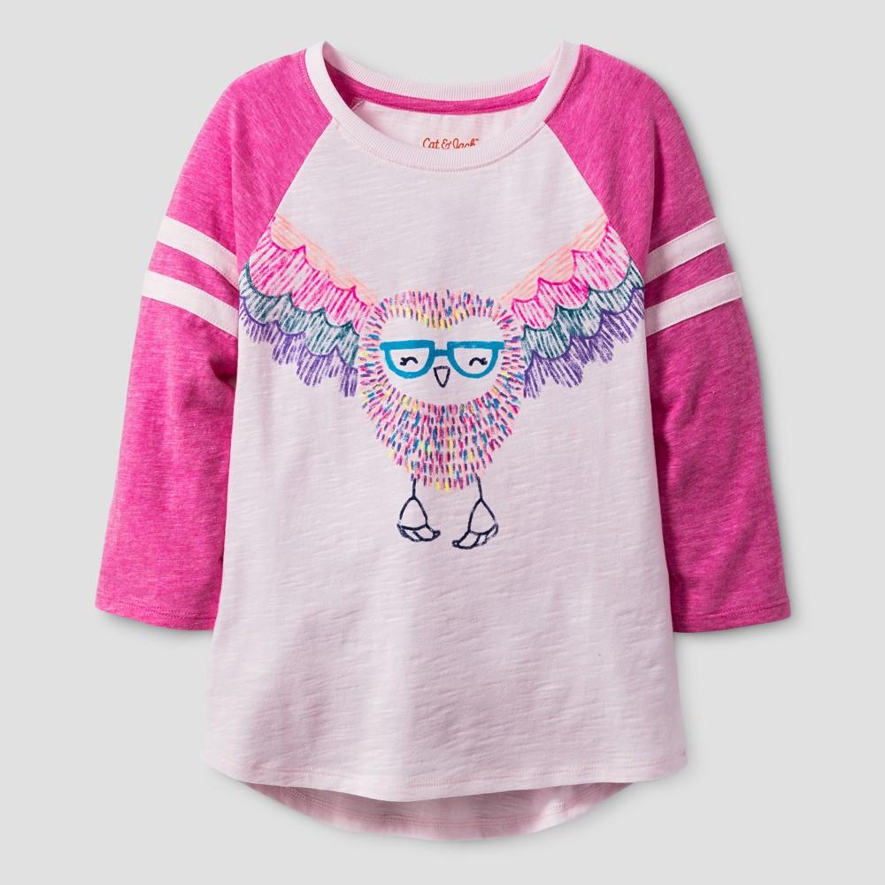 Girls 3/4 Sleeve Owl Print Baseball T-Shirt - Cat & Jack Pink XL