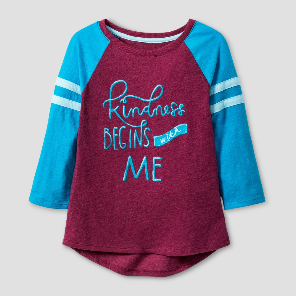 Girls 3/4 Sleeve Baseball T-Shirt - Cat & Jack Burgundy XL, Red