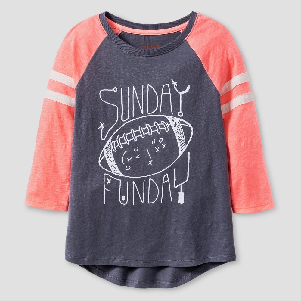 Girls 3/4 Sleeve Football Print Baseball T-Shirt - Cat & Jack Gray XS