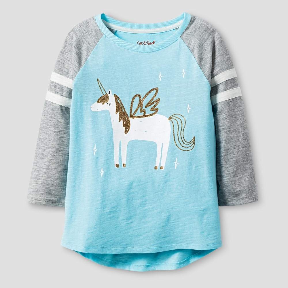 Girls 3/4 Sleeve Unicorn Print Baseball T-Shirt - Cat & Jack Light Blue S