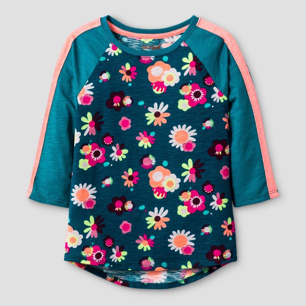 Girls 3/4 Sleeve Floral Print Baseball T-Shirt - Cat & Jack Teal M, Blue