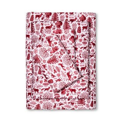 Wondershop Flannel Sheet Set Queen Red Santa Toile