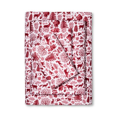 Wondershop Flannel Sheet Set King Red Santa Toile