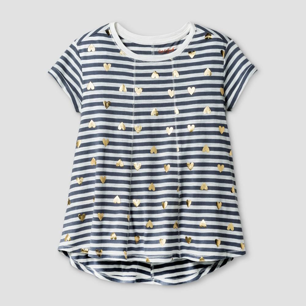 Girls Short Sleeve Stripe Swing T-Shirt Cat & Jack Gray L