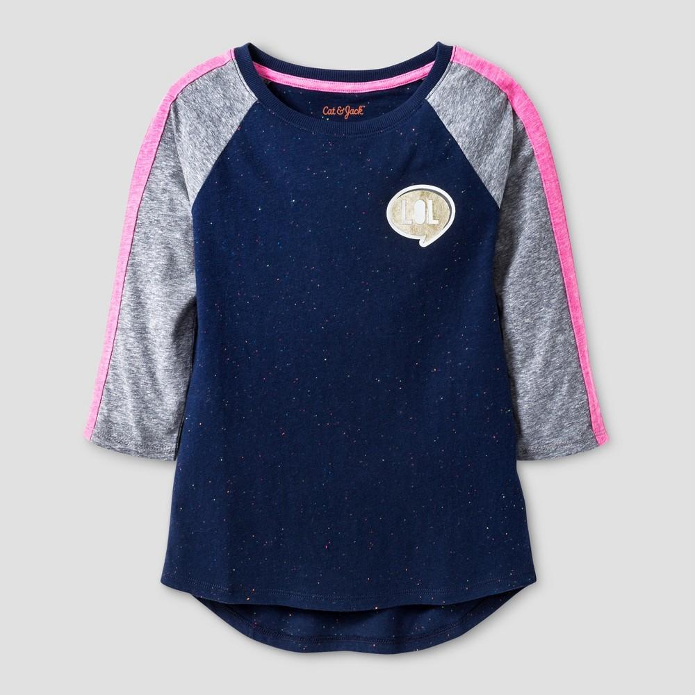 Girls 3/4 Sleeve Lol Patch Baseball T-Shirt - Cat & Jack Navy M, Blue