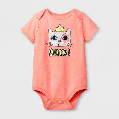 Baby Girls' Super! Cat Bodysuit - Cat & Jack™ Peach 12 Months