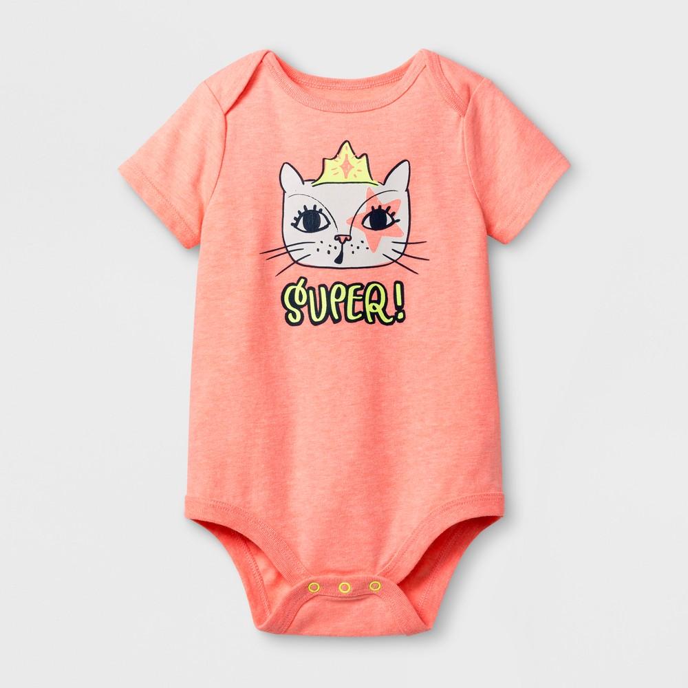 Baby Girls Super! Cat Bodysuit - Cat & Jack Peach 18 Months, Size: 18 M, Pink