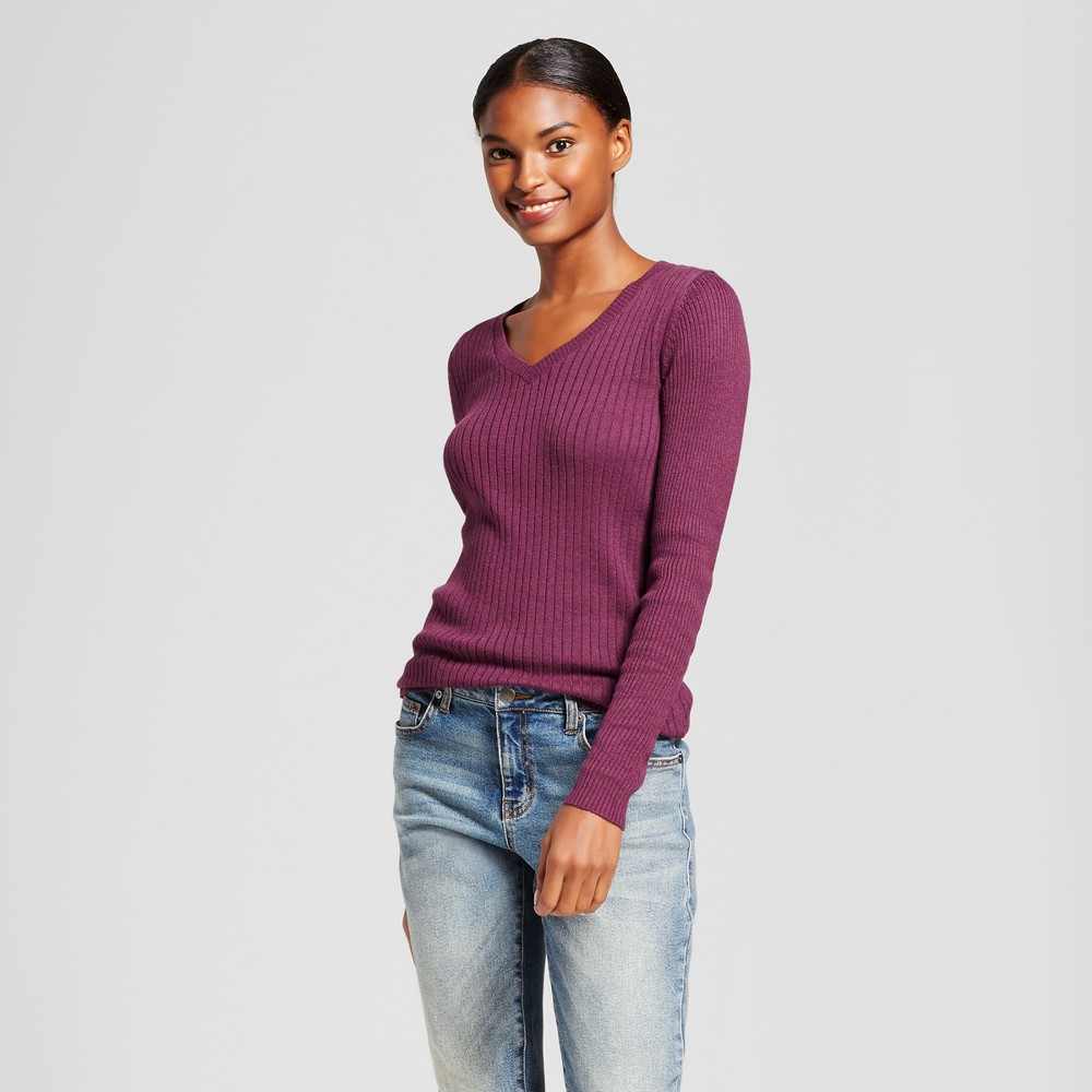 Womens V-Neck Sweater - A New Day Cherry (Red) M