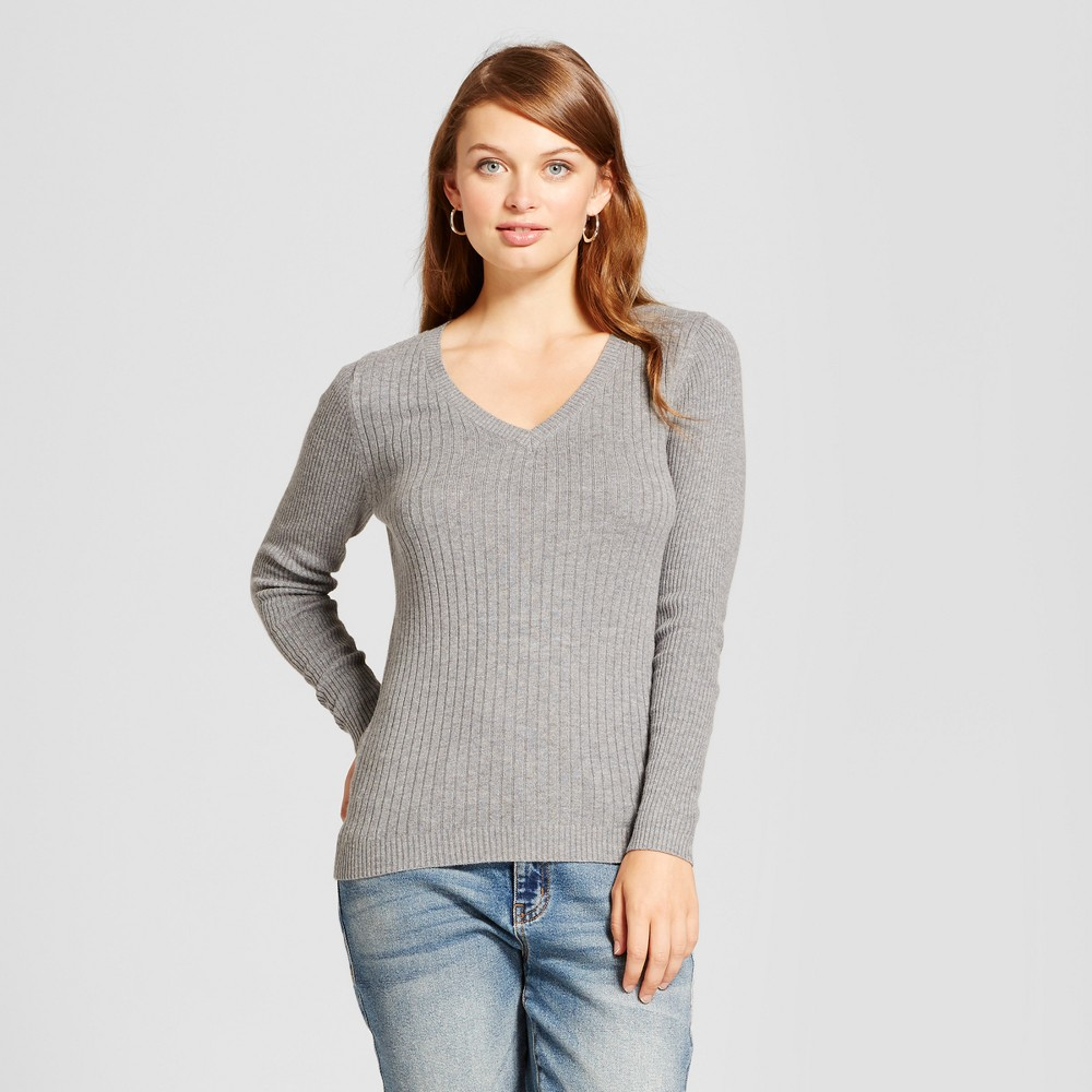Womens V-Neck Sweater - A New Day Gray L