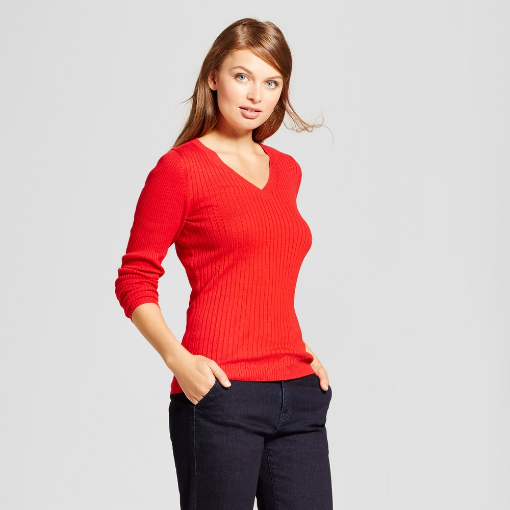 Womens V-Neck Sweater - A New Day Red M