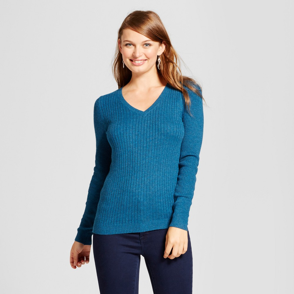 Womens V-Neck Sweater - A New Day Teal (Blue) XS