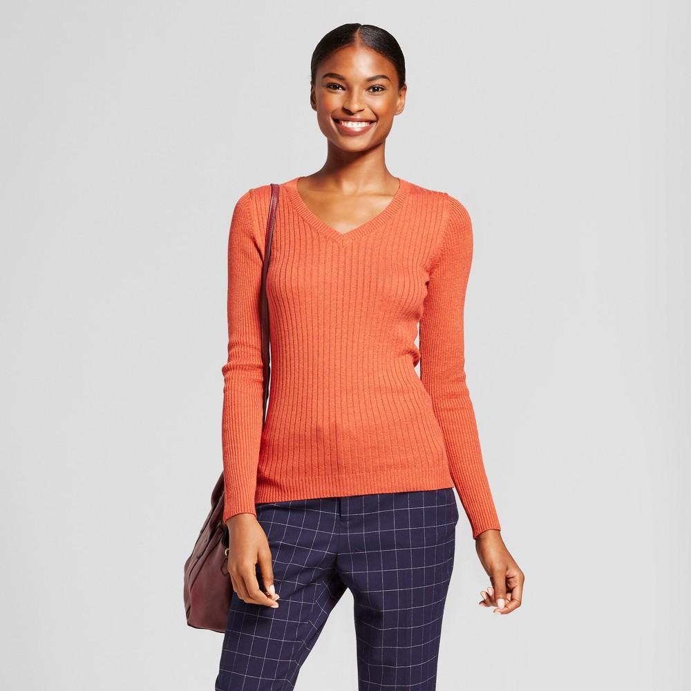 Womens V-Neck Sweater - A New Day Orange L