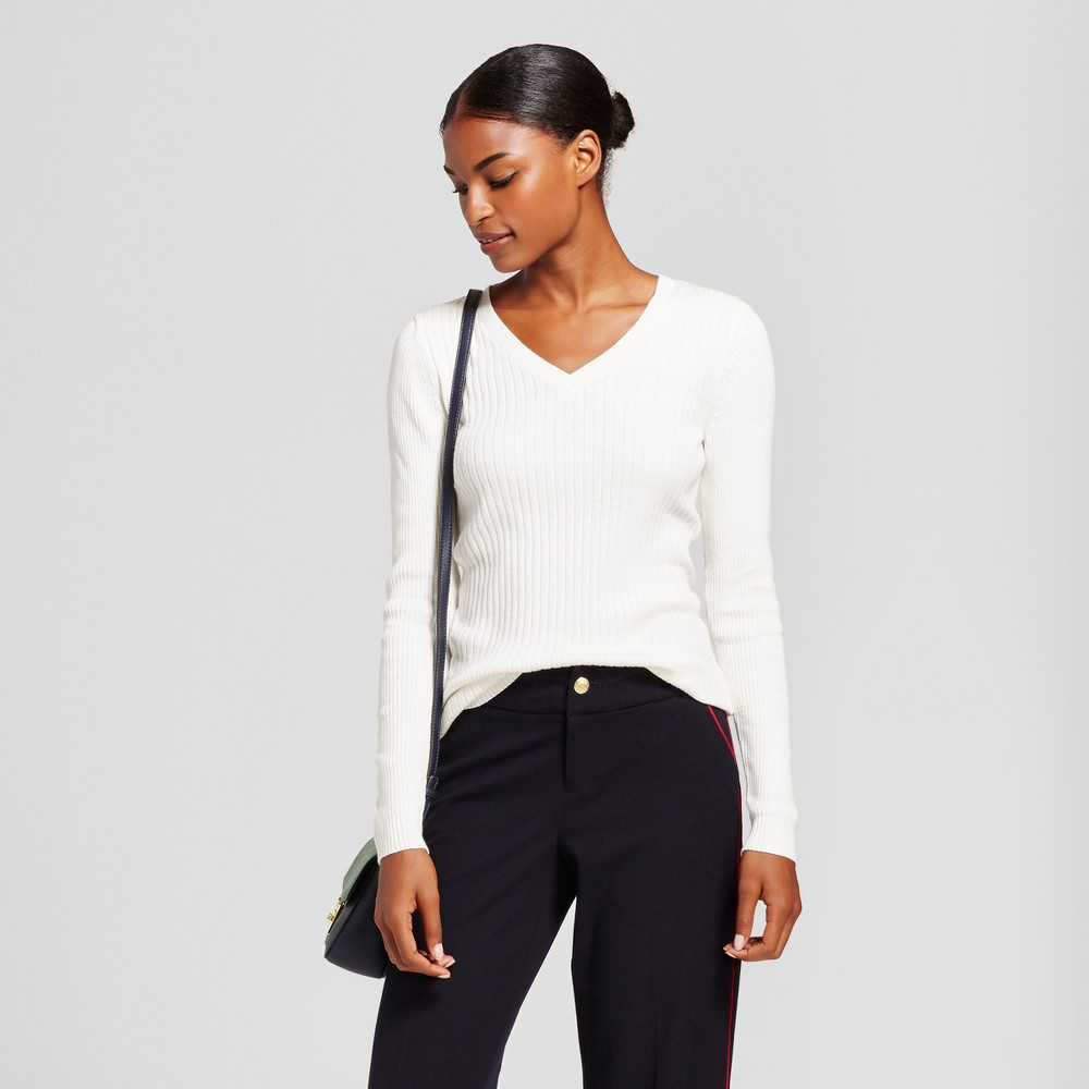 Womens V-Neck Sweater - A New Day Cream (Ivory) L