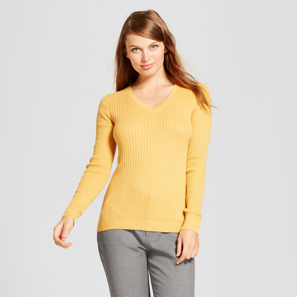 Womens V-Neck Sweater - A New Day Gold XS