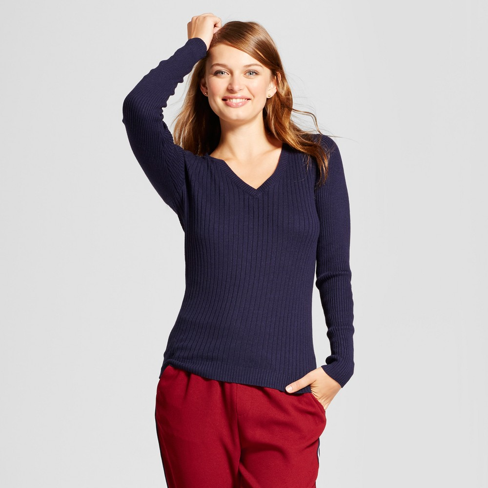 Womens V-Neck Sweater - A New Day Navy (Blue) L