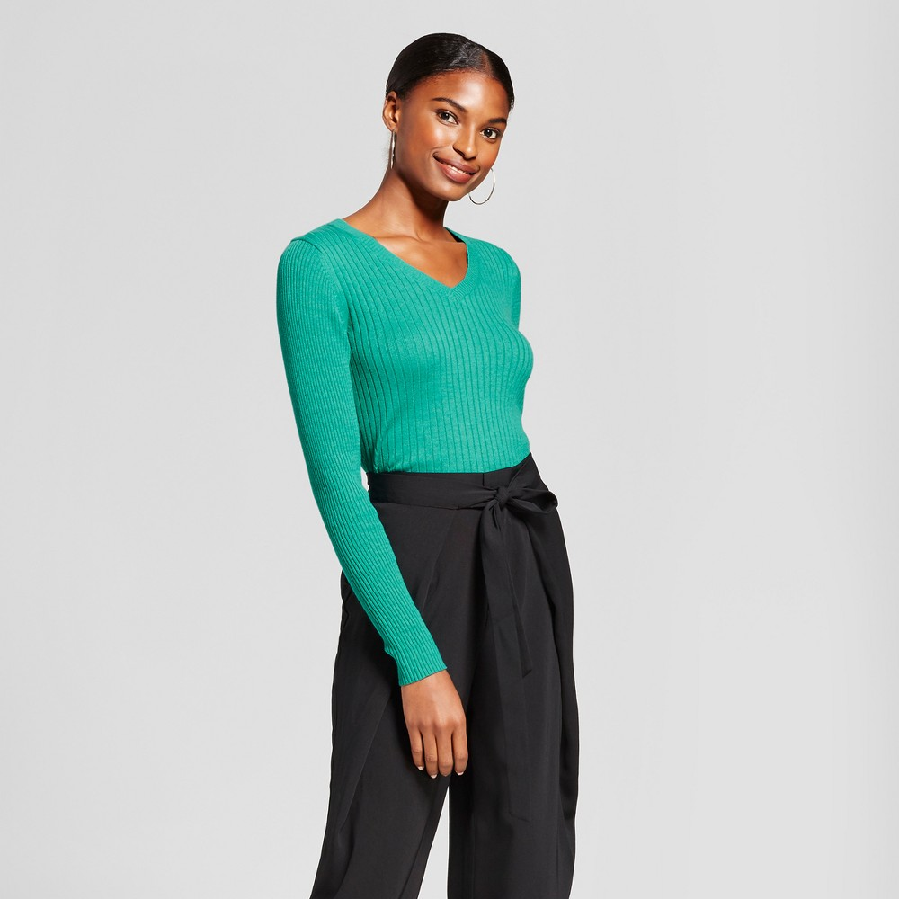 Womens V-Neck Sweater - A New Day Green XS