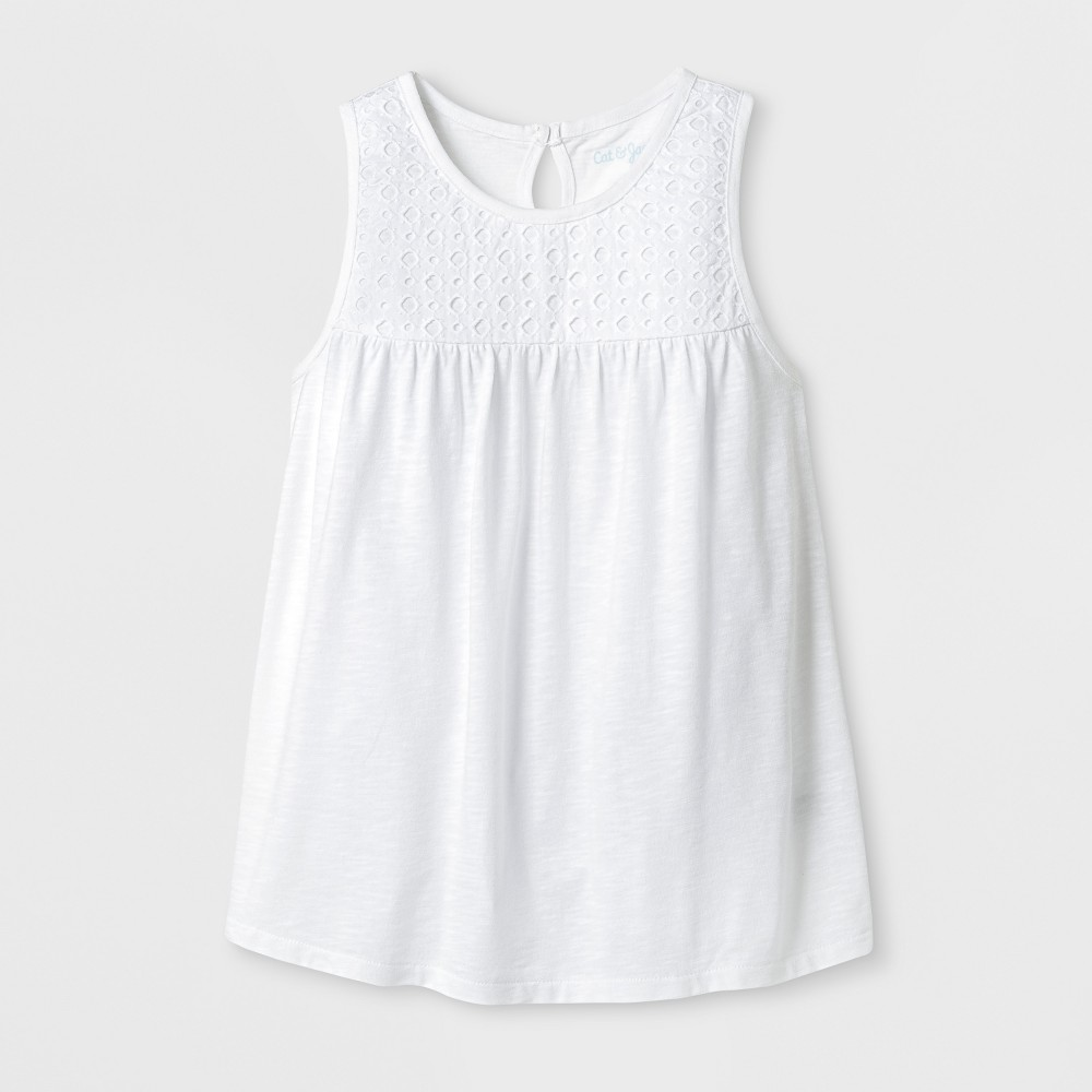 Girls Sleeveless Eyelet Tank Top - Cat & Jack White XL