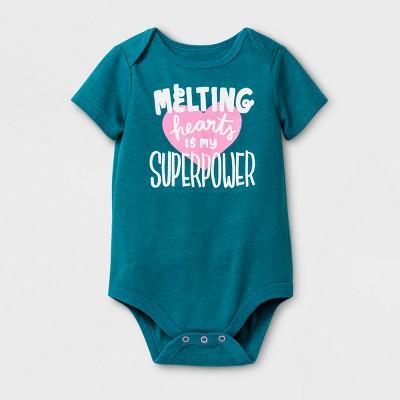 Baby Girls' Melting Hearts Bodysuit - Cat & Jack™ Teal 3-6 Months