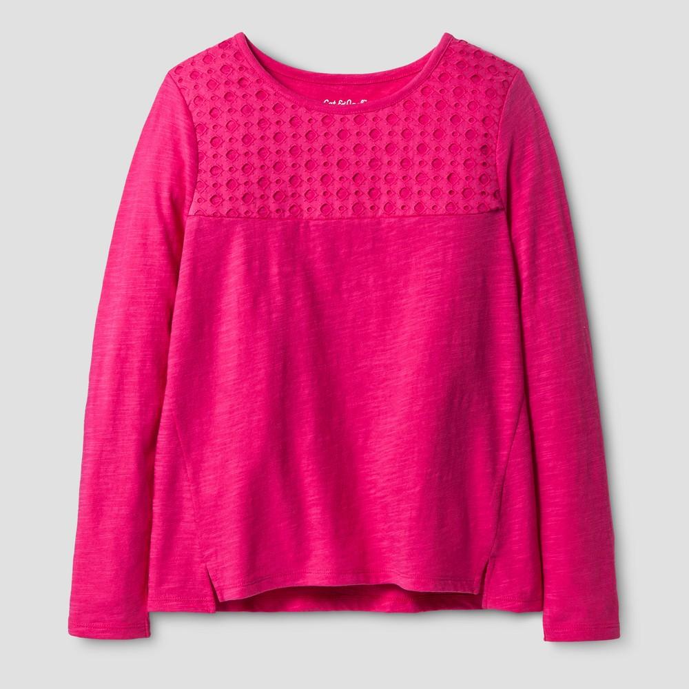 Girls Long Sleeve Eyelet T-Shirt - Cat & Jack Pink XL