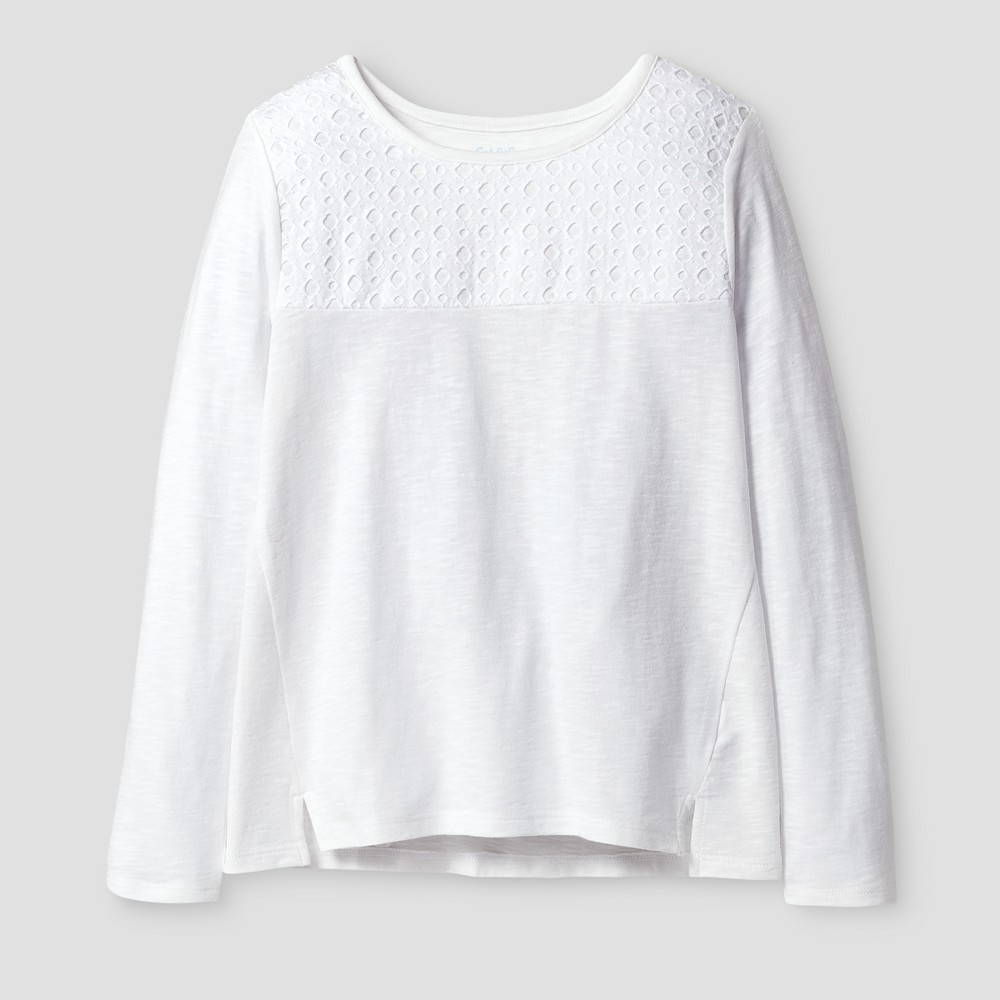 Girls Long Sleeve Eyelet T-Shirt - Cat & Jack White XS