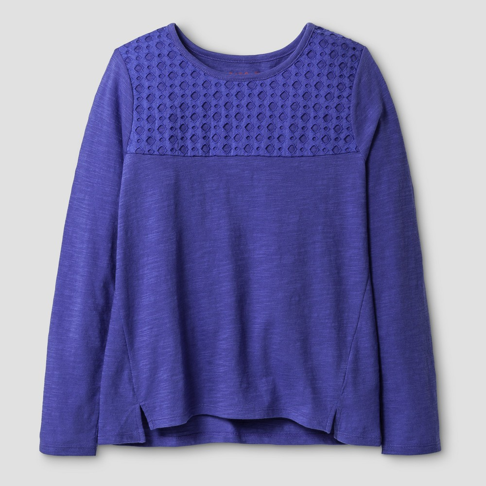 Girls Long Sleeve Eyelet T-Shirt - Cat & Jack Purple L
