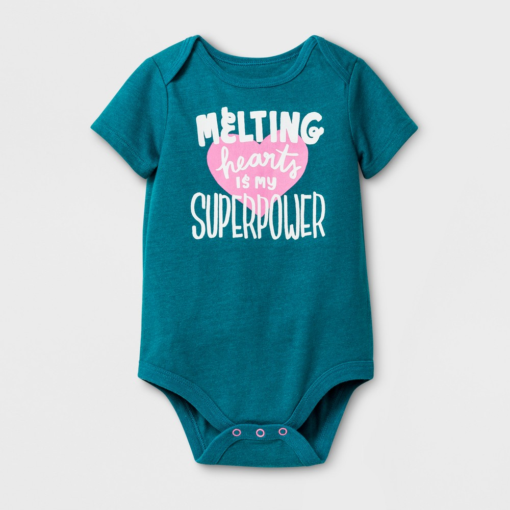 Baby Girls Melting Hearts Bodysuit - Cat & Jack Teal 24 Months, Size: 24 M, Blue
