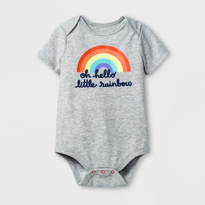 Baby Girls' Little Rainbow Bodysuit - Cat & Jack™ Gray 0-3M
